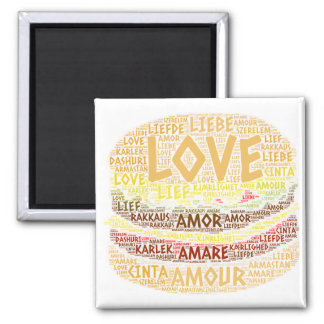 Aimant Hamburger illustré avec le mot d'amour