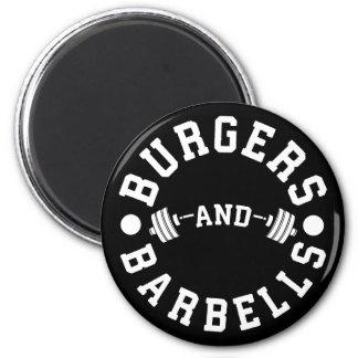 Aimant Hamburgers et haltères - séance d'entraînement
