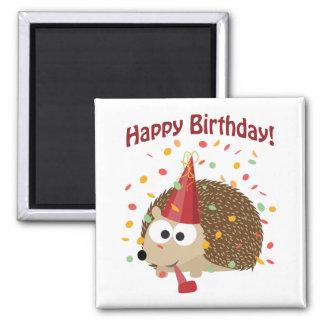 Aimant Hérisson de joyeux anniversaire de confettis