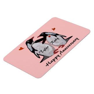 Aimant heureux d'amour de pingouin d'anniversaire magnet