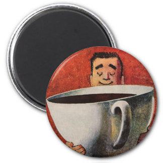 Aimant Homme heureux vintage buvant la tasse de café