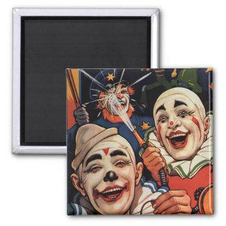 Aimant Humour vintage, clowns de cirque riants et police