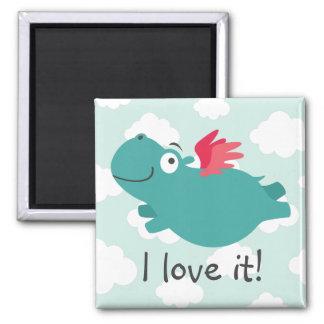 Aimant Illustration d'hippopotame de vol