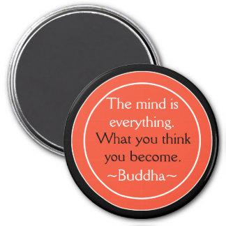 Aimant Inspiré orange de noir de citation de Bouddha