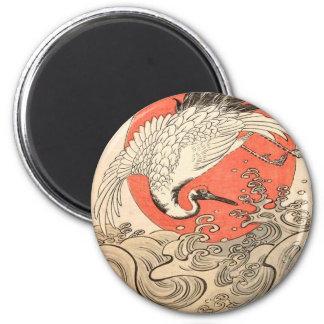 Aimant Isoda Koryusai - grue, vagues et Soleil Levant