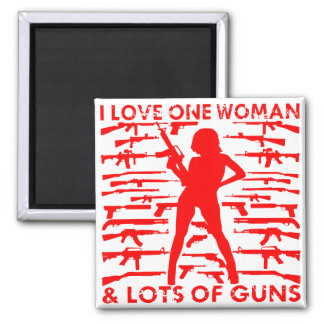 Aimant J'aime 1 femme et un bon nombre d'armes à feu