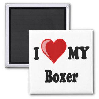 Aimant J'aime (coeur) mon chien de boxeur