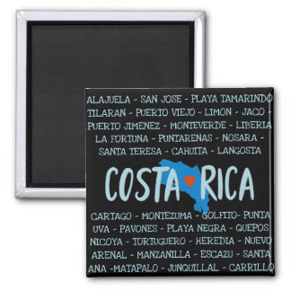 Aimant J'aime des noms de carte du Costa Rica de souvenir