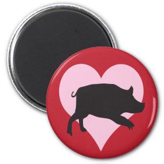 Aimant J'aime des porcs