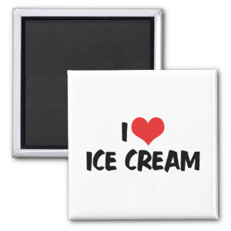 Aimant J'aime la crème glacée de coeur