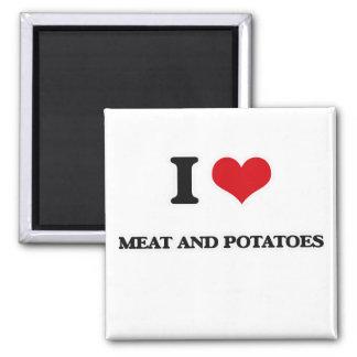 Aimant J'aime la viande et des pommes de terre