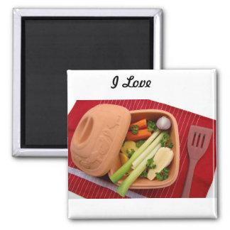 Aimant J'aime l'aimant carré végétarien