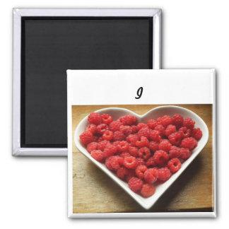 Aimant J'aime l'aimant de carré de pouce des framboises
