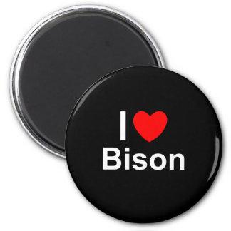 Aimant J'aime le bison de coeur