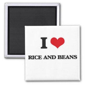 Aimant J'aime le riz et des haricots