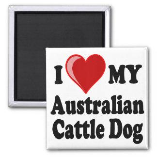 Aimant J'aime mon chien australien de bétail