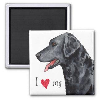 Aimant J'aime mon chien d'arrêt Bouclé-Enduit