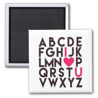 Aimant JE T'AIME - alphabet romantique