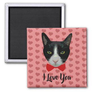 Aimant Je t'aime - chat de smoking avec la cravate d'arc