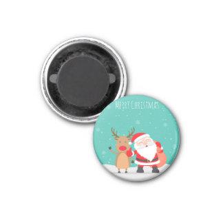Aimant Joyeux Noël de Père Noël et de Rudolf 2018