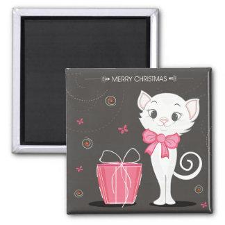 Aimant Joyeux Noël Kitty assez blanc dans le rose
