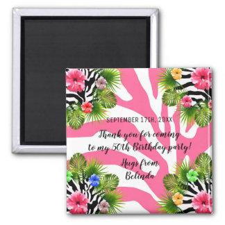 Aimant Ketmie tropicale et rayures roses exotiques de