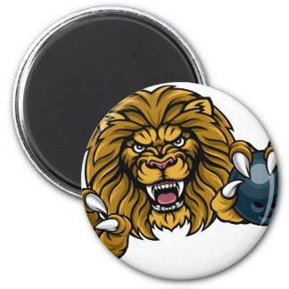 Aimant La boule de bowling de lion folâtre la mascotte