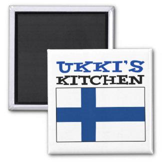 Aimant La cuisine d'Ukki avec le drapeau de la Finlande