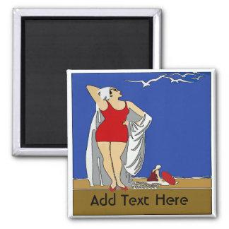 Aimant La plage, art déco, ajoutent le texte