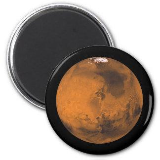 Aimant La planète rouge Mars avec des calottes glaciaires
