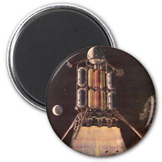 Aimant La science-fiction vintage Rocket soufflant outre
