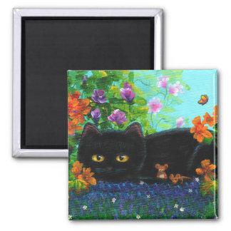 Aimant La souris drôle de chat noir fleurit Creationarts