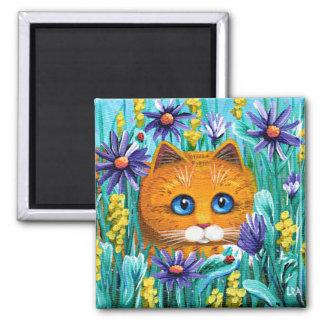 Aimant La souris orange drôle de chat tigré fleurit