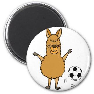 Aimant Lama drôle jouant la bande dessinée du football