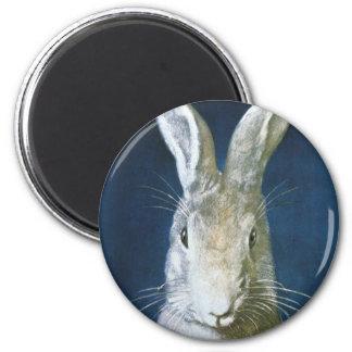 Aimant Lapin de Pâques vintage, lapin blanc velu mignon