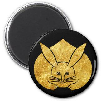Aimant Lapin japonais de kamon d'Usagi en or de faux sur