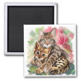 Aimant Le chat étreint le chaton
