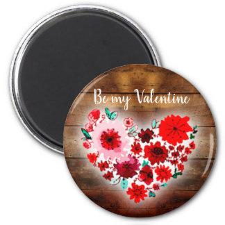 Aimant Le coeur floral en bois | de grange soit mon coeur