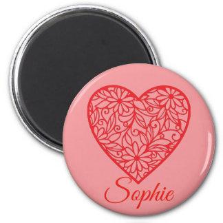 Aimant Le coeur rouge Personnalised de Valentine