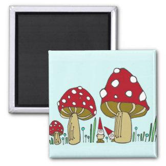 Aimant Le gnome et les champignons ajustent l'aimant