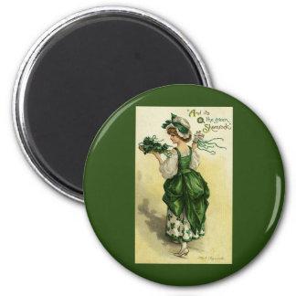 Aimant Le jour vintage de St Patrick, shamrocks verts de
