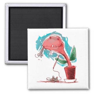 Aimant le plante mangent la bande dessinée drôle de chat