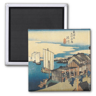 Aimant Le port japonais vintage de Hiroshige embarque