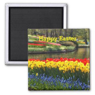 Aimant Le ressort ensoleillé heureux de Pâques fleurit