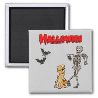 Aimant Le squelette a peur d'Halloween -