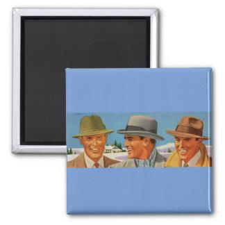 Aimant les années 1950 Fedora-portant le trio