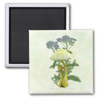 Aimant Les champignons jaunes avec le bleu minuscule