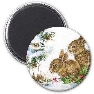 Aimant Les lapins et l'oiseau apprécient la neige