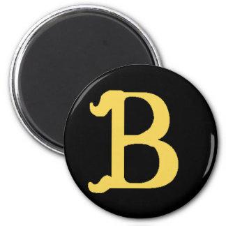 Aimant Lettre décorée d'un monogramme B (noir rond