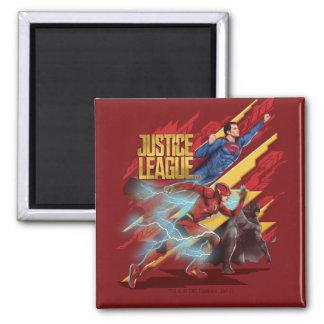 Aimant Ligue de justice   Superman, éclair, et insigne de